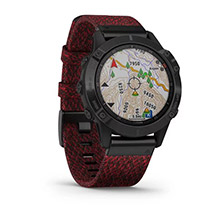 GARMIN Fenix 6 Sapphire Black DLC with Heathered Red Nylon Band