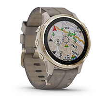 GARMIN Fenix 6S Sapphire Light Gold-tone with Shale Gray Leather Band