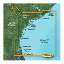 GARMIN US, Charleston to Jacksonville, (VUS008R) BlueChart g2 Vision HD map