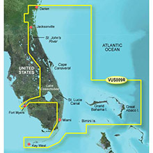 GARMIN US, Jacksonville to Key West, (VUS009R) BlueChart g2 Vision HD map
