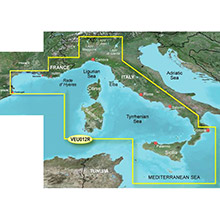 GARMIN Europe, Mediterranean Sea, Central-West (VEU012R), BlueChart g2 Vision HD map