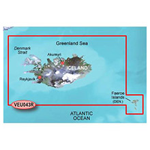 GARMIN Europe, Iceland and Faeroe Islands, (VEU043R), BlueChart g2 Vision HD map