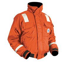 MUSTANG SURVIVAL Classic Bomber Jacket w/SOLAS Reflective Tape - Large - Orange