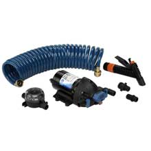 JABSCO 32900 washdown pump w/ strainer nozzle 25ft hose