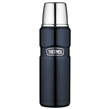 THERMOS Stainless king vacuum insulated beverage bottle - 16 oz. - stainless steel/midnight blue