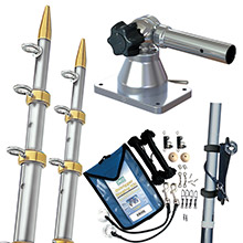 TACO METALS Grand slam 170 outrigger kit w/silver gold 15 ft outriggers, rigging kit line caddy