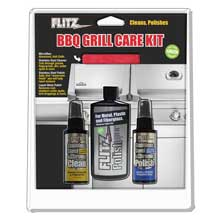 FLITZ Bbq grill care kit w/liquid metal polish, stainless steel cleaner, stainless steel polish microfiber cloth