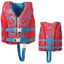 FULL THROTTLE Hinged water sports vest - child 30-50lbs - berry/blue