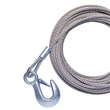 POWERWINCH 20ft x 7/32 inch Replacement Galvanized Cable w/Hook f/215, 315 T1650