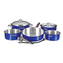 MAGMA Nestable 10 Piece Stainless Steel Cookware - Cobalt Blue