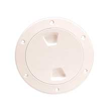 BECKSON 4inch smooth center screw out deck plate beige 4.5inch cut