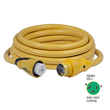 Marinco CS503-25 EEL 50A 125V Shore Power Cordset - 25ft - Yellow