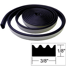 TACO METALS Weather seal - 10 ftl x #8539 inch h x 3/8 inch w - black