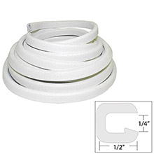 TACO METALS Flexible vinyl trim - 1/4 inch opening x 1/2 inch w x 25 ftl - white