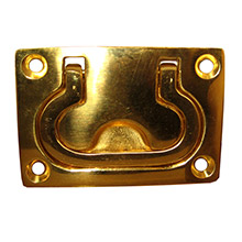 WHITECAP Flush pull ring - polished brass - 3 inch x 2 inch