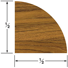 WHITECAP Teak quarter round molding large - 5 ft