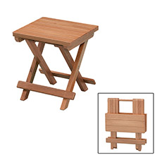 WHITECAP Teak grooved top fold-away table/stool