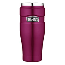 THERMOS Stainless king vacuum insulated travel tumbler - 16 oz. - stainless steel/raspberry