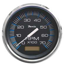 Faria Beede Instr Chesapeake black ss 4inch   tachometer w/hourmeter - 7,000 rpm (gas - outboard)