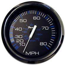 Faria Beede Instr Chesapeake black ss 4inch   speedometer - 80mph (mechanical)