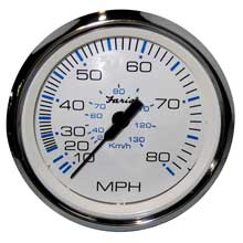 FARIA BEEDE INSTR Chesapeake white ss 4inch speedometer - 80mph (mechanical)