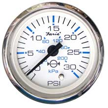 FARIA Chesapeake white ss 2inch water pressure gauge kit - 30 psi