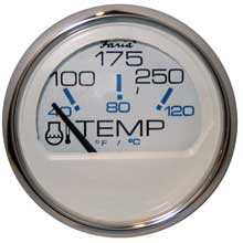 FARIA Chesapeake white ss 2inch water temperature gauge (100-250 #176 f)
