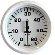 FARIA Dress white 4inch tachometer - 6,000 rpm (gas - inboard i/o)
