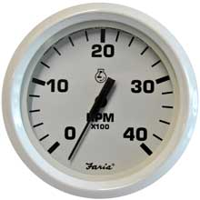 FARIA Dress white 4inch tachometer - 4,000 rpm (diesel - mechanical takeoff var ratio alt)