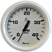 FARIA BEEDE INSTR Dress white 4inch tachometer - 4,000 rpm - (diesel - magnetic pick-up)