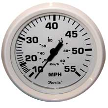 Faria Beede Instr Dress white 4inch   speedometer - 55mph (mechanical)