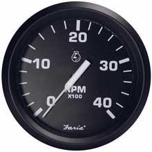 FARIA Euro black 4inch tachometer - 4,000 rpm (diesel - magnetic pick-up)