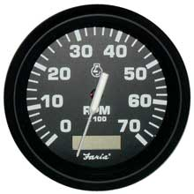 Faria Beede Instr Euro black 4inch   tachometer w/hourmeter - 7,000 rpm (gas - outboard)