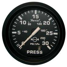 FARIA Euro black 2inch water pressure gauge kit - 30 psi