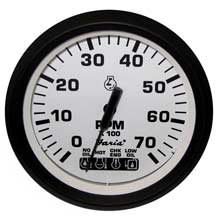Faria Beede Instr Euro white 4inch   tachometer w/systemcheck indicator - 7,000 rpm (gas - johnson / evinrude outboard)