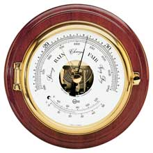BARIGO Barometer/thermometer 6inch dial brass and mahogany