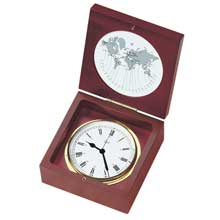 BARIGO Quartz clock in box mahogany and brass 4inch dial