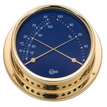 BARIGO Comfortmeter 4inch dial brass housing blue