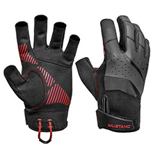 MUSTANG SURVIVAL Traction Open Finger Glove - Black/Red - Large