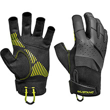 MUSTANG SURVIVAL Traction Open Finger Glove - Black/Fluorescent Yellow - Large