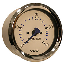 VDO Allentare white 4000rpm 3-3/8 inch (85mm) diesel tachometer (alternator) - 12v