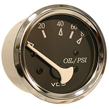 VDO Allentare black 80psi oil pressure gauge - use w/marine 240-33 ohm sender - 12v - chrome bezel