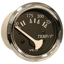 VDO Allentare black 250deg  f water temperature gauge - use w/marine 450-29 ohm sender - 12v - chrome bezel