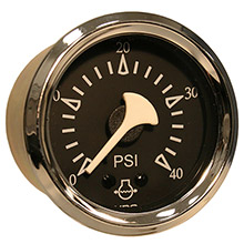 VDO Allentare black 40psi mechanical water pressure gauge - chrome bezel