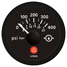 VDO Viewline onyx 400 psi/25 bar gear pressure gauge 12/24v - use with  sender