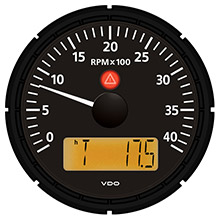 VDO Viewline onyx 4,000 rpm 3-3/8 inch (85mm) marine tachometer w/2 hourmeters, clock and voltmeter - 12/24v