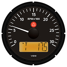 VDO Viewline onyx 3,000 rpm 3-3/8 inch (85mm) tachometer w/2 hourmeters, clock and voltmeter - 12/24v
