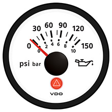 VDO Viewline ivory 150 psi/10 bar oil pressure gauge 12/24v - use with sender