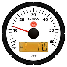VDO Viewline ivory 60mph sumlog (speed/depth/temp) 3-3/8 inch (85mm) w/odometer, clock and voltmeter - 12/24v