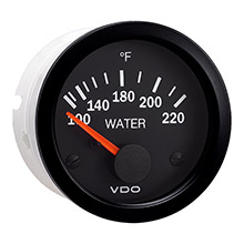 VDO Vision black 220deg  f water temperature gauge - use with us sender - 12v